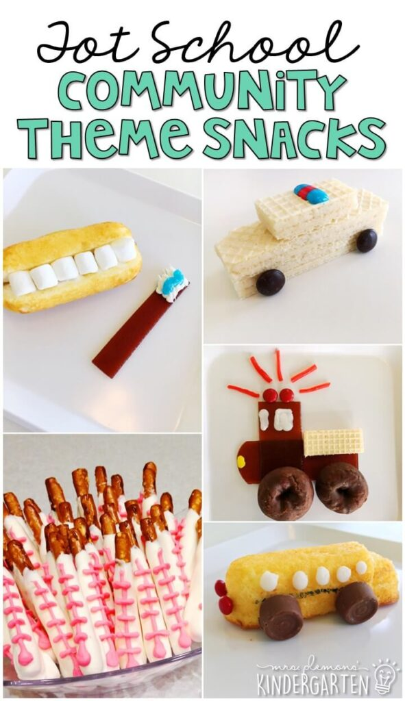 These yummy snacks are perfect for a community helpers theme in tot school, preschool, or kindergarten!