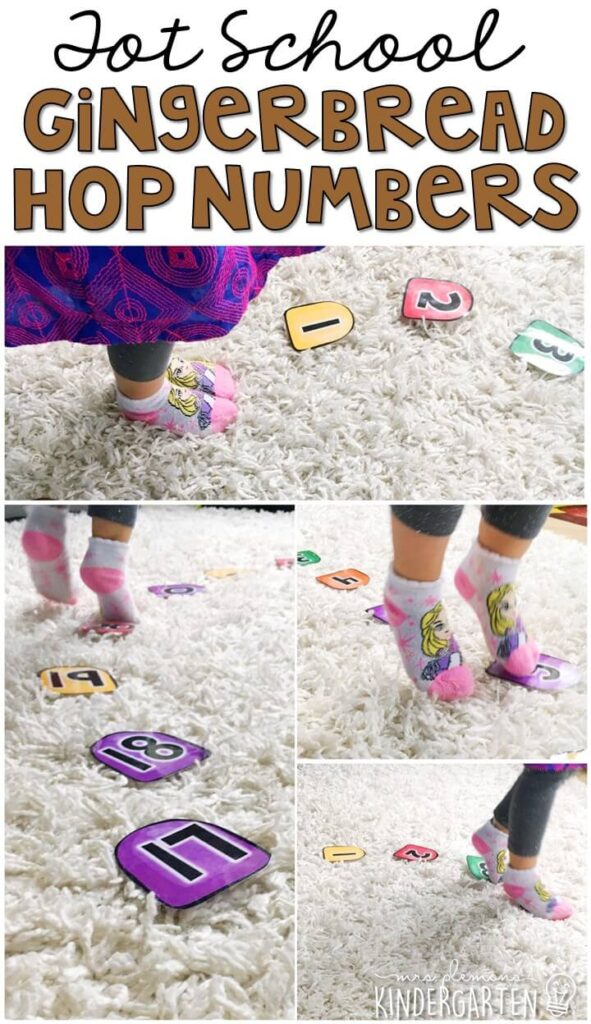 Learning is more fun when it involves movement! Practice all kinds of movement, numbers and listening skills with this gumdrop numbers gross motor activity. Great for Christmas time tot school, preschool, or even kindergarten!