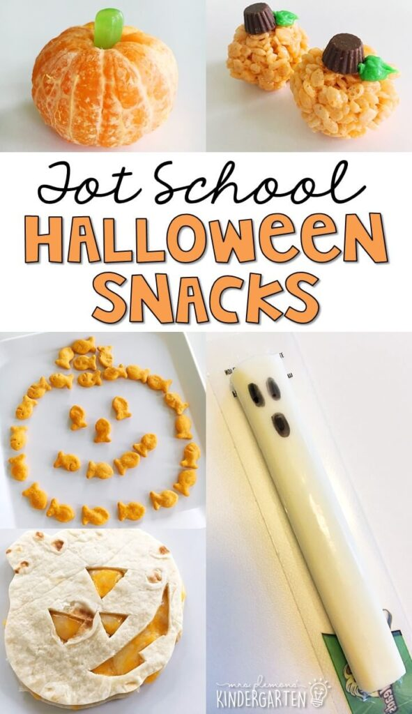 These yummy snacks are perfect for a Halloween theme in tot school, preschool, or kindergarten!
