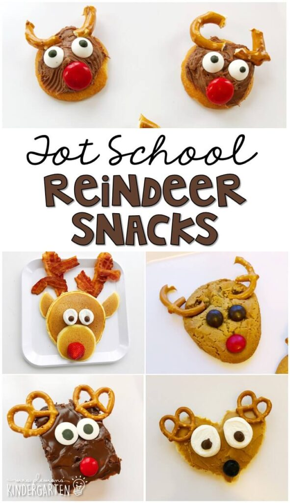 These yummy snacks are perfect for a reindeer theme in tot school, preschool, or kindergarten! Great for Christmas time fun with little ones!