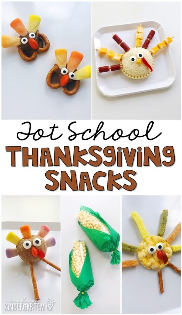 These yummy snacks are perfect for a Thanksgiving theme in tot school, preschool, or kindergarten!