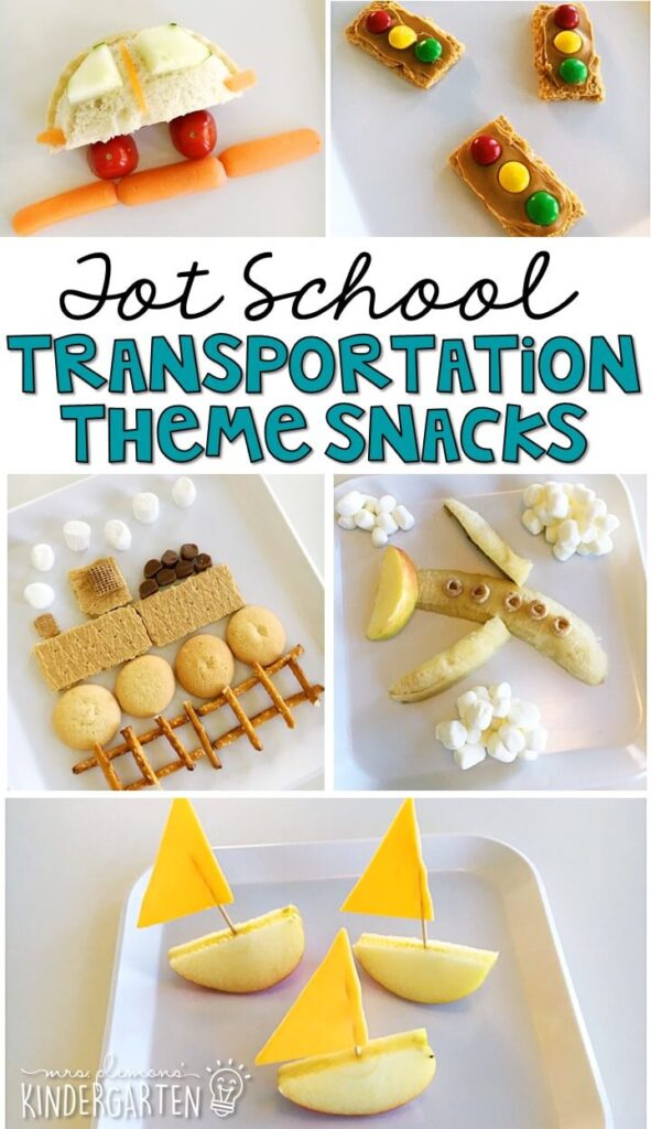 These yummy snacks are perfect for a transportation theme in tot school, preschool, or kindergarten!