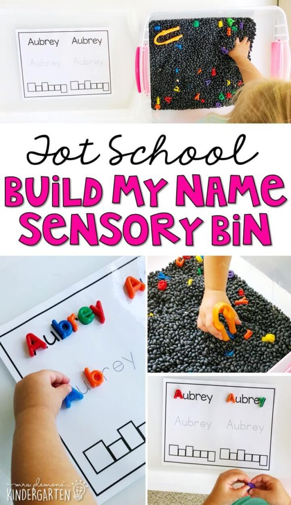 We LOVE this build my name sensory bin. Work on fine motor skills, matching letters, and writing your name. Great for an all about me theme in tot school, preschool, or even kindergarten!