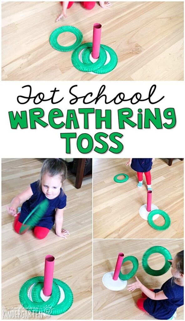 Learning is more fun when it involves movement! This wreath ring toss was an easy and fun gross motor activity for our Christmas theme. Great for Christmas time in tot school, preschool, or even kindergarten!