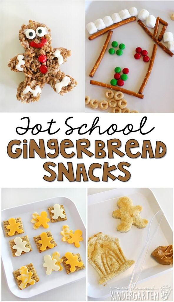These yummy snacks are perfect for a gingerbread theme in tot school, preschool, or kindergarten!