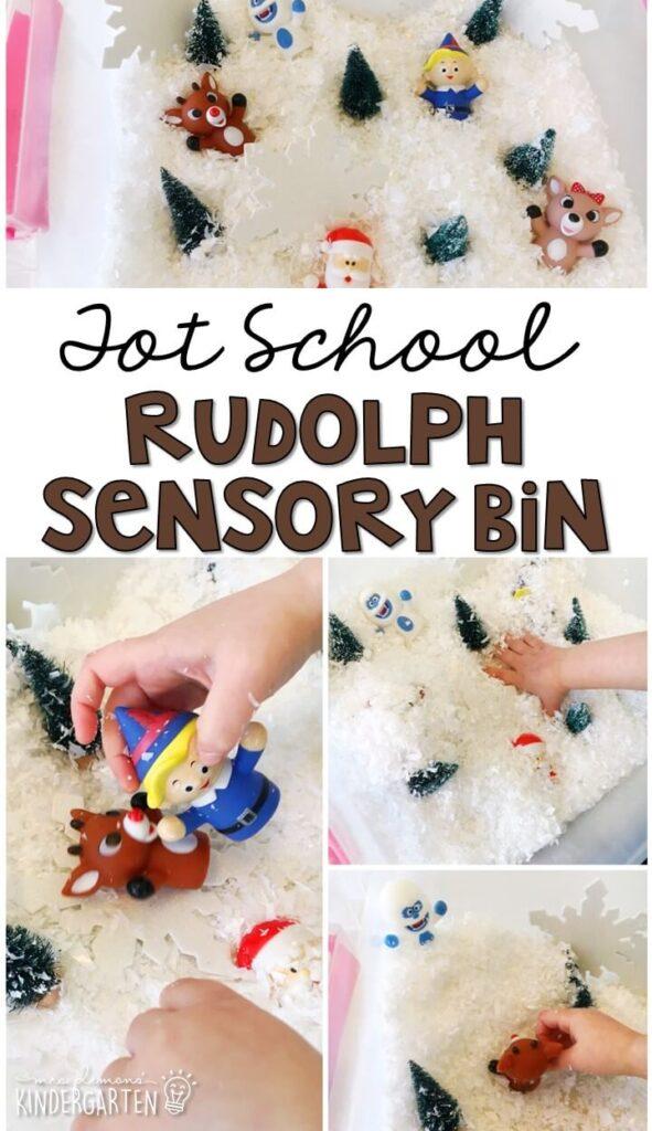 We LOVE this Rudolph sensory bin. Great for Christmas time in tot school, preschool, or even kindergarten!