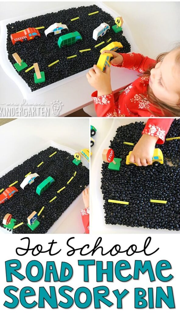 We LOVE this road theme sensory bin. Great for tot school, preschool, or even kindergarten!