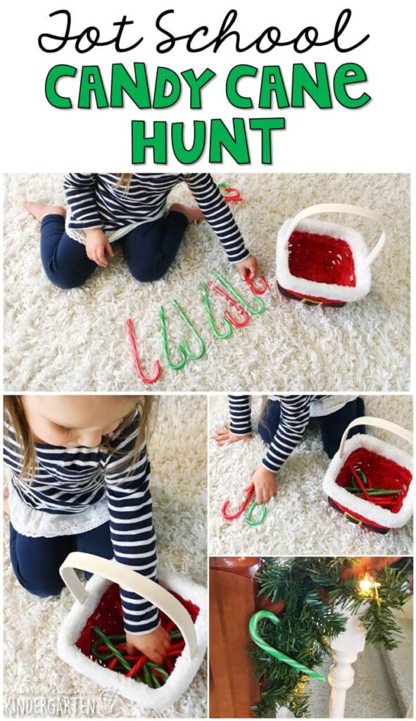 Learning is more fun when it involves movement! Practice counting while running around with this candy cane hunt. Great for Christmas time in tot school, preschool, or even kindergarten!