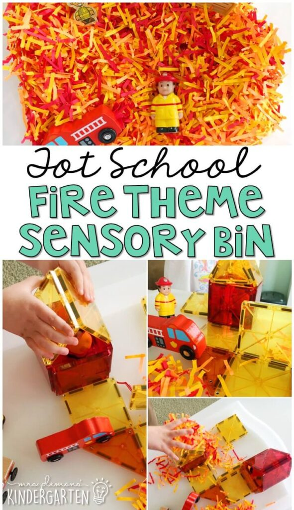 Build houses, put out fires, pretend, play and explore with this fun fire themed sensory bin. Great for a community helpers theme in tot school, preschool, or even kindergarten!