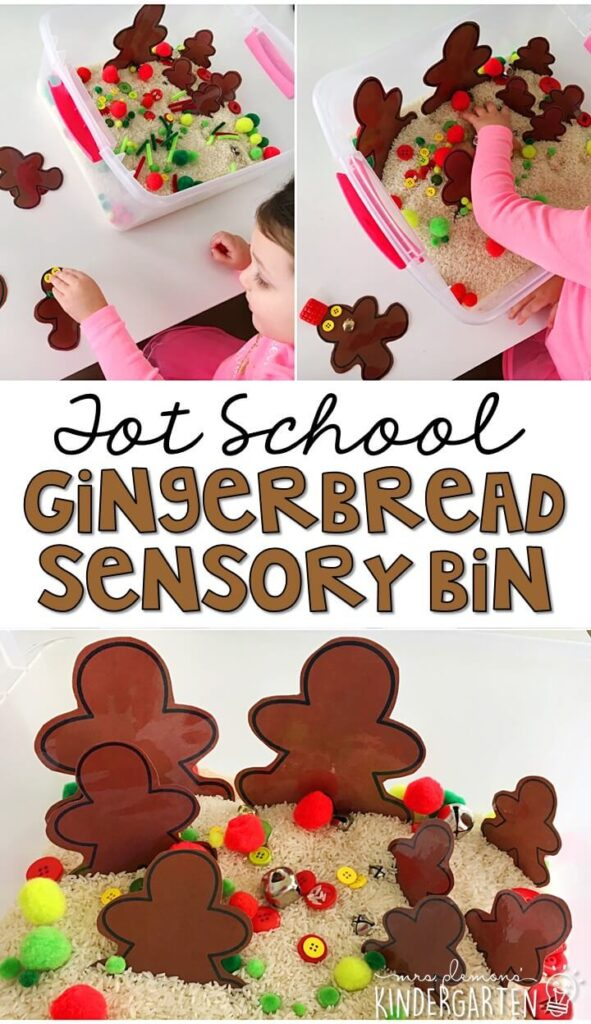 We LOVE this gingerbread sensory bin. So many interesting pieces to build and explore with! Great for Christmas time tot school, preschool, or even kindergarten!