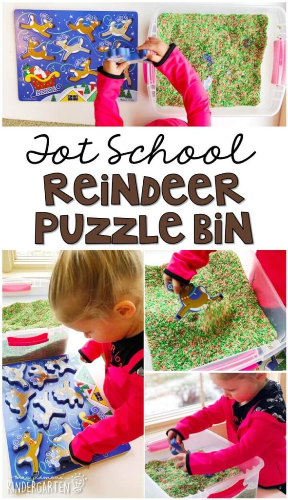 We LOVE adding puzzles to sensory bins in order to make them even more fun. This reindeer puzzle sensory bin was so fun. Great for Christmas time in tot school, preschool, or even kindergarten!