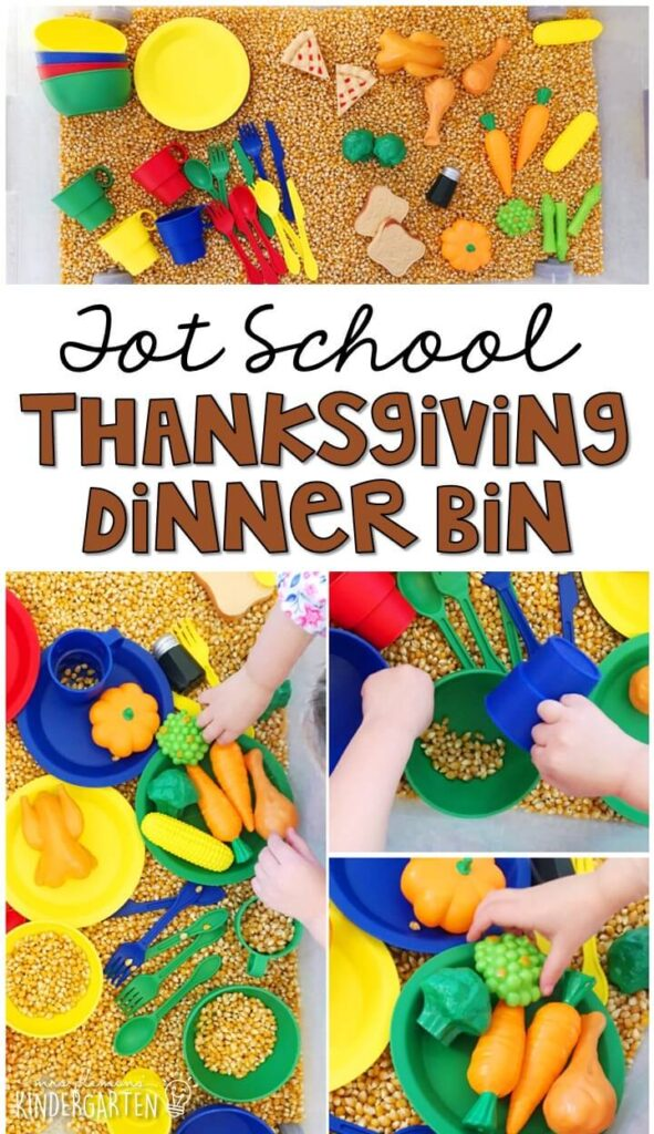 We LOVE this Thanksgiving dinner sensory bin. Great for tot school, preschool, or even kindergarten!