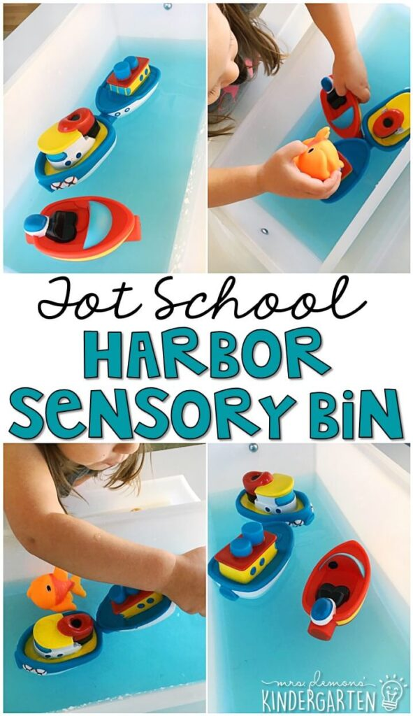 Water filled sensory bins are our favorite! So we LOVE this harbor theme sensory bin. Great for a transportation theme in tot school, preschool, or even kindergarten!