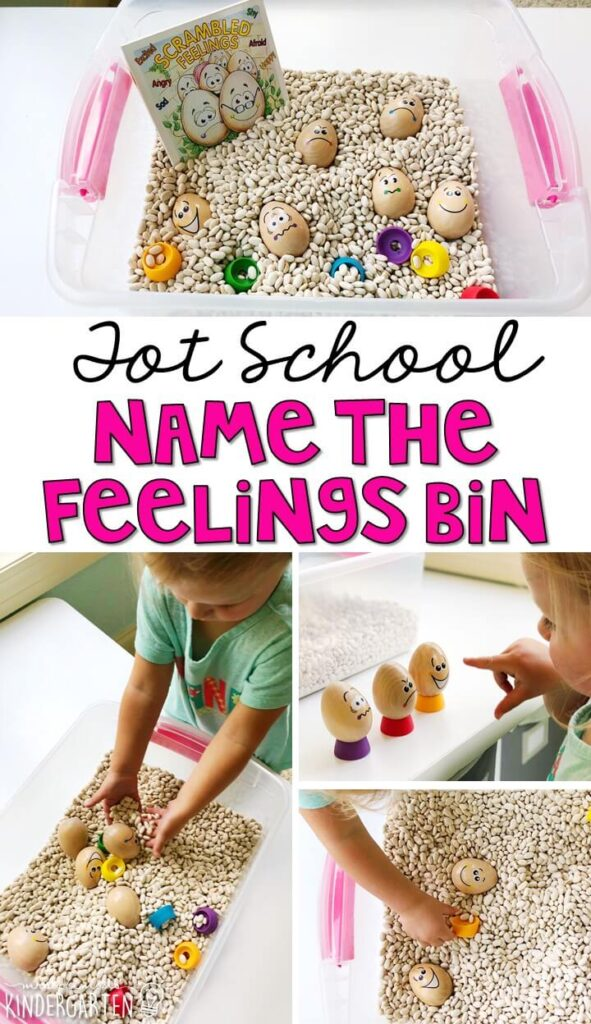 We LOVE this name the feelings sensory bin. Work on fine motor skills and identifying emotions. Great for an all about me theme in tot school, preschool, or even kindergarten!