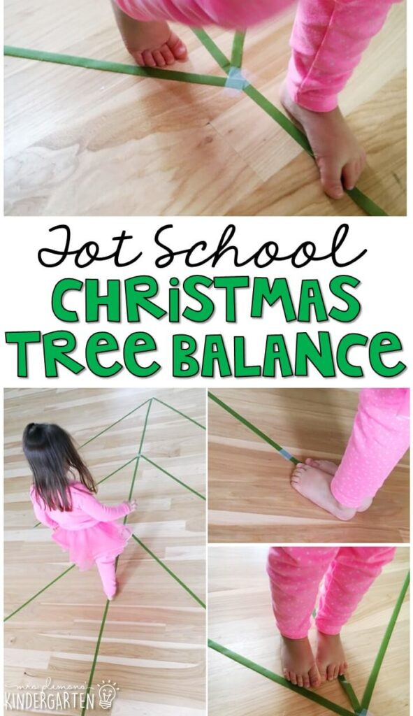 Learning is more fun when it involves movement! Practice all kinds of movement and listening skills with this Christmas tree balance gross motor activity. Great for Christmas in tot school, preschool, or even kindergarten!