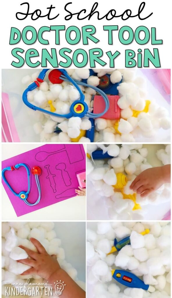 Trace all the tools from a doctors kits on a large sheet of paper. Then hide them a sensory bin for a fun hunt and match activity. Great for tot school, preschool, or even kindergarten!