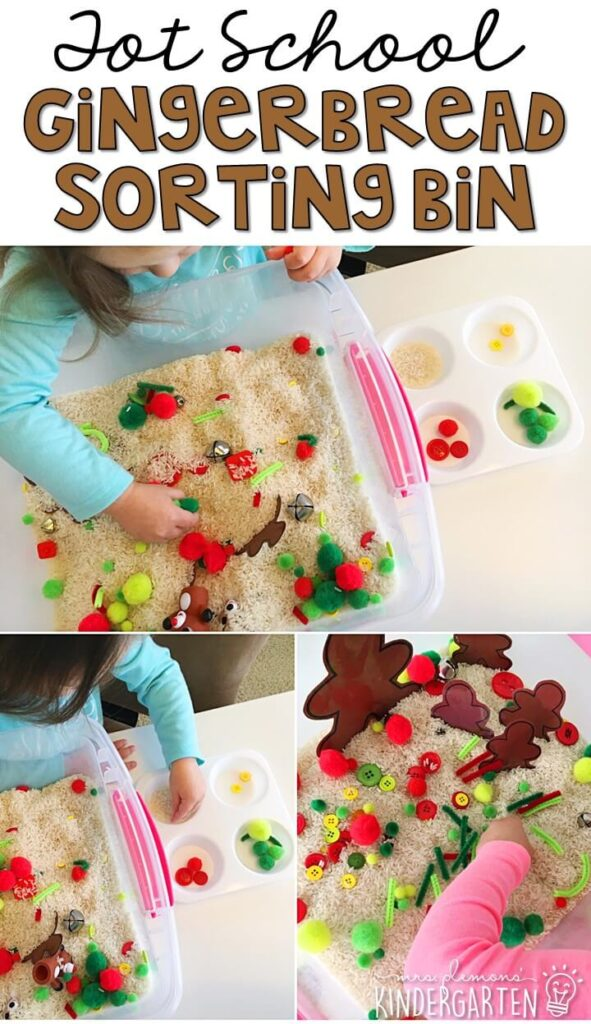 We LOVE this gingerbread sorting sensory bin. Such a great hands on way to practice sorting colors. Great for Christmas time tot school, preschool, or even kindergarten!