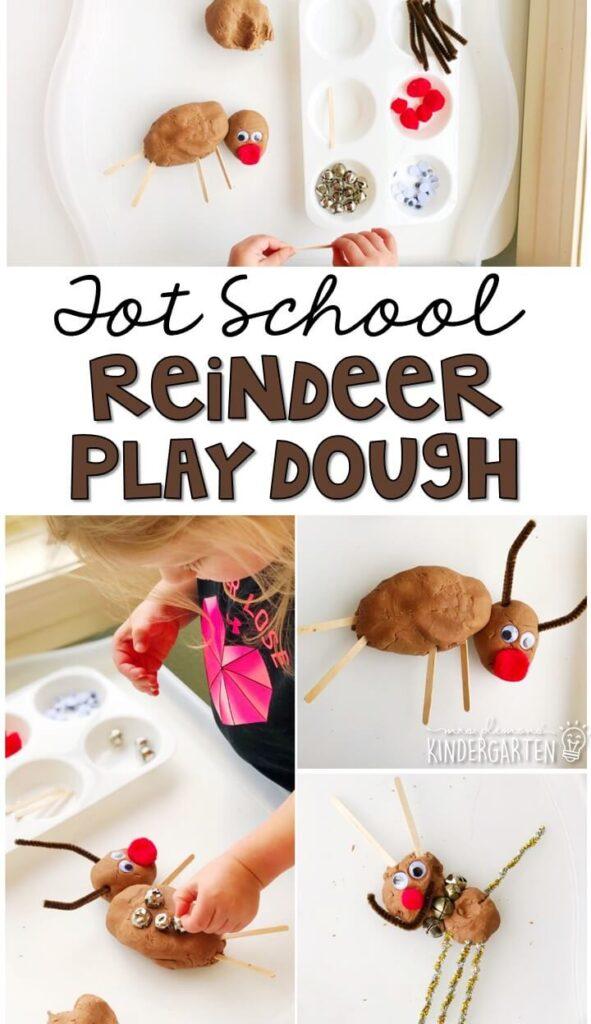 We LOVE this reindeer play dough activity. Great for Christmas time in tot school, preschool, or even kindergarten!