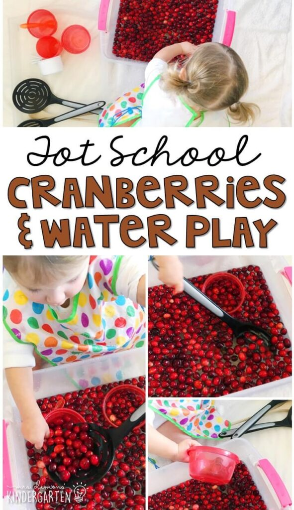 We LOVE this cranberry water play sensory bin. Great for Thanksgiving in tot school, preschool, or even kindergarten!