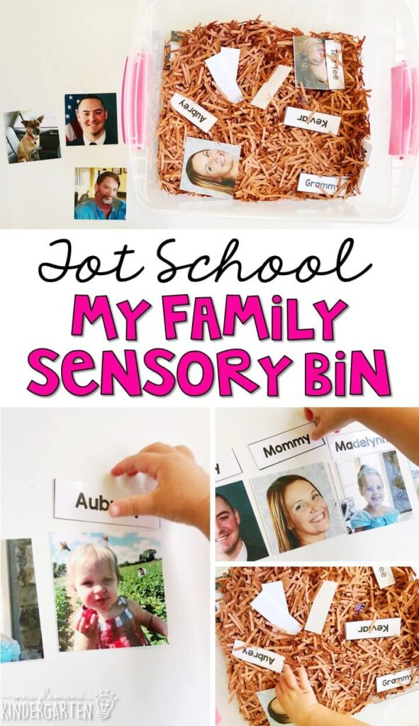 We LOVE this my family sensory bin. Work on fine motor skills, matching pictures/words, and identifying family members. Great for an all about me or family theme in tot school, preschool, or even kindergarten!