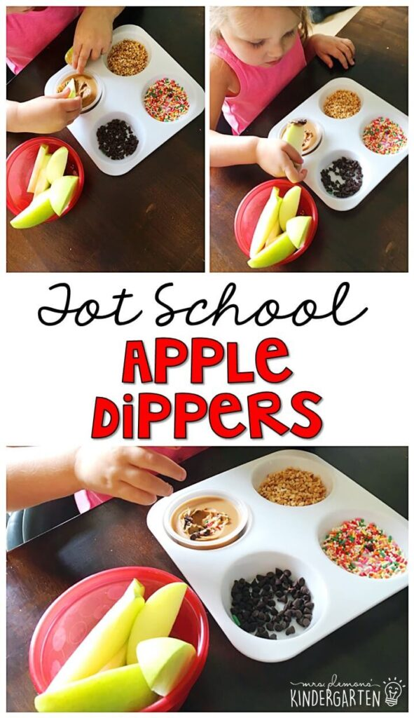These yummy apple themed snacks are perfect for an apple theme in tot school, preschool, or kindergarten!