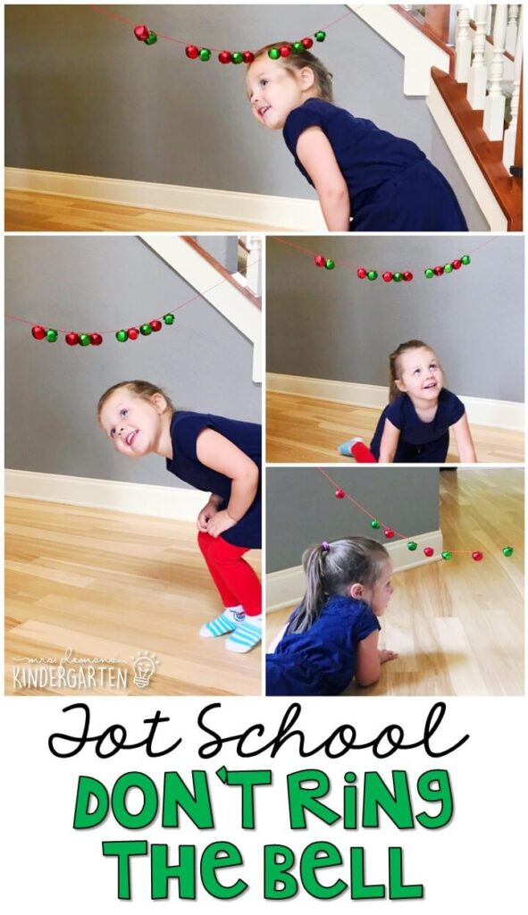 Learning is more fun when it involves movement! This don't ring the bell activity was a super fun gross motor game that had my kids laughing and moving all morning. Great for tot school, preschool, or even kindergarten!