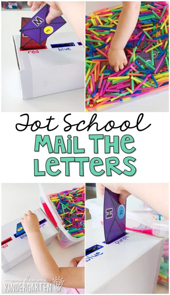 We LOVE this mail the letters sensory bin. Work on color matching, letter identification, fine motor skills and more! Great for a community helpers theme in tot school, preschool, or even kindergarten!
