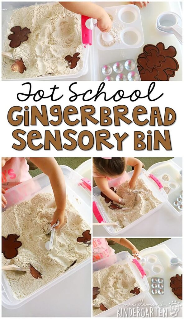 We LOVE this gingerbread baking sensory bin. Great for Christmas time tot school, preschool, or even kindergarten!