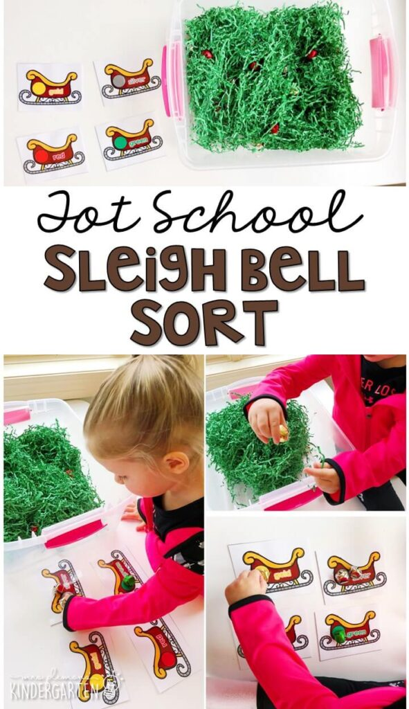 We LOVE this sleigh bell sort sensory bin for working on color sorting. Great for Christmas time in tot school, preschool, or even kindergarten!