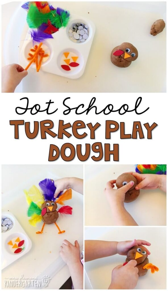 We LOVE this turkey play dough sensory play activity. Great for Thanksgiving in tot school, preschool, or even kindergarten!