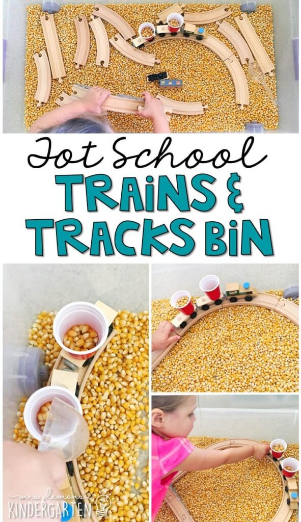 We LOVE this trains and tracks sensory bin. Great for a transportation theme in tot school, preschool, or even kindergarten!