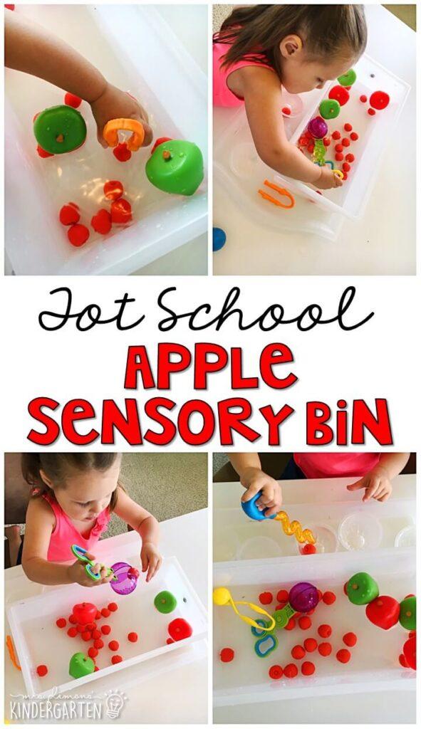 We LOVE this bobbing for apples sensory bin. Great for tot school, preschool, or even kindergarten!