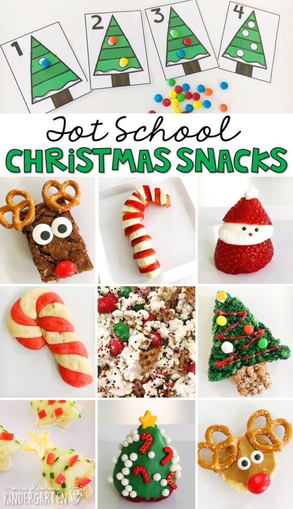 These yummy snacks are perfect for a Christmas theme in tot school, preschool, or kindergarten!