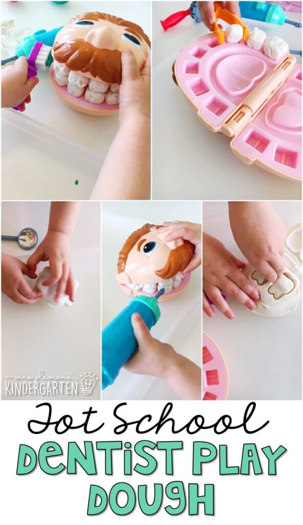 This dentist play dough toy is one of our all time favorites. Great for sensory play and fun with a community helpers theme in tot school, preschool, or even kindergarten!