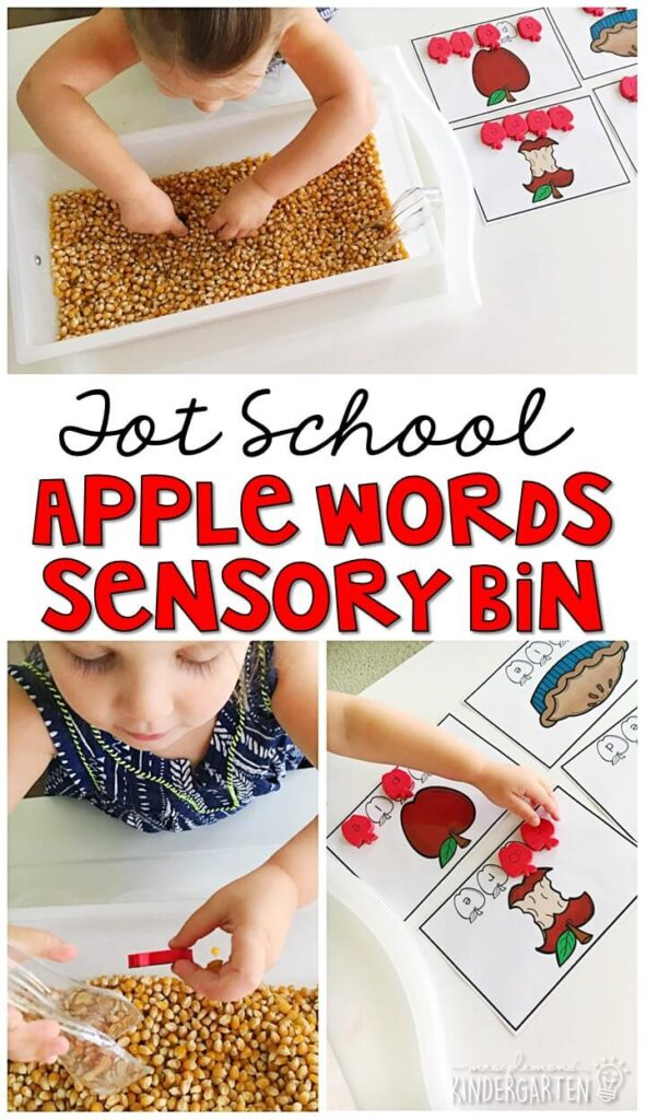 We LOVE building words with this apple word sensory bin. Great for letter id, spelling, and vocabulary in tot school, preschool, or even kindergarten!