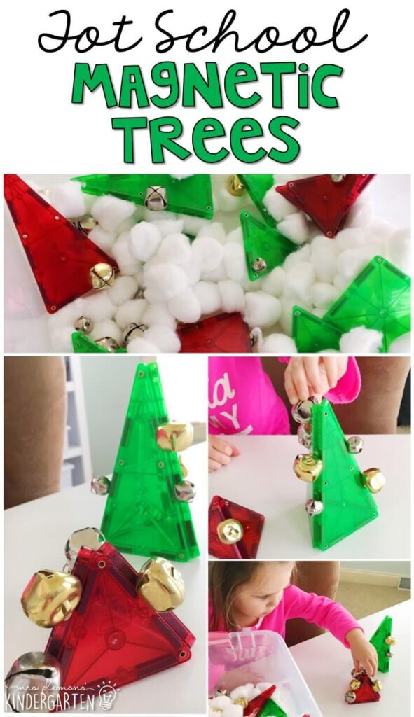 We LOVE this magnetic Christmas tree sensory bin. magnets are always fun to explore and the jingle bells added extra sensory interest! Great for Christmas time in tot school, preschool, or even kindergarten!