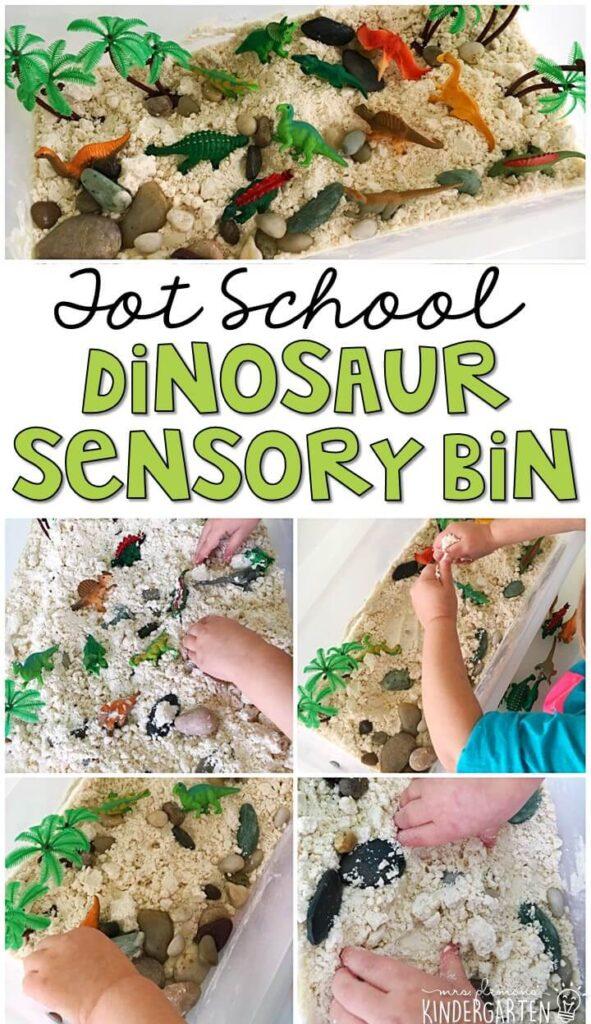 We LOVE this dinosaur cloud dough sensory bin. Cloud dough is so fluffy and fun to explore! Great for tot school, preschool, or even kindergarten!