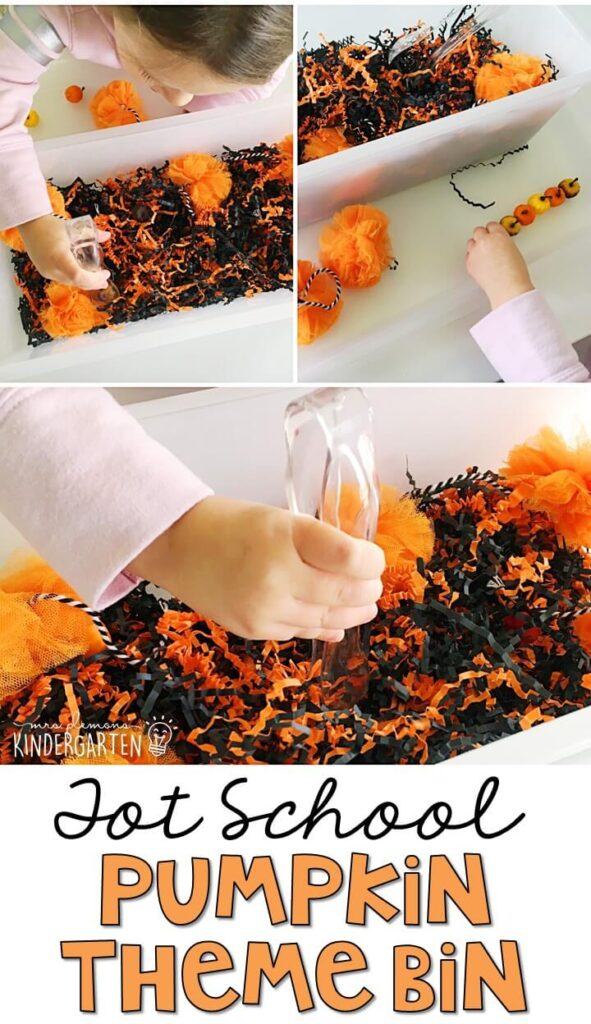 We LOVE this pumpkin theme sensory bin. Great for Halloween in tot school, preschool, or even kindergarten!