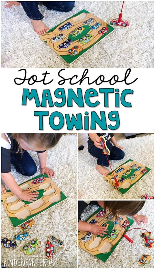 We LOVE this magnetic towing puzzle from Melissa & Doug for fine motor practice. Great for a transportation theme in tot school, preschool, or even kindergarten!