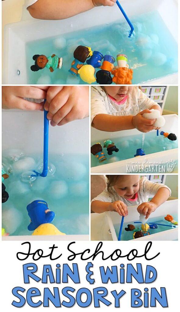 We LOVE blowing bubbles and exploring with this rain & wind sensory bin. Great for tot school, preschool, or even kindergarten!