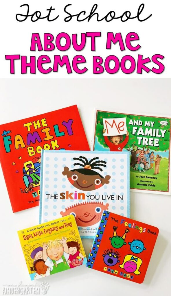 5 great books for your all about me theme. Perfect for back to school in tot school, preschool, or kindergarten.