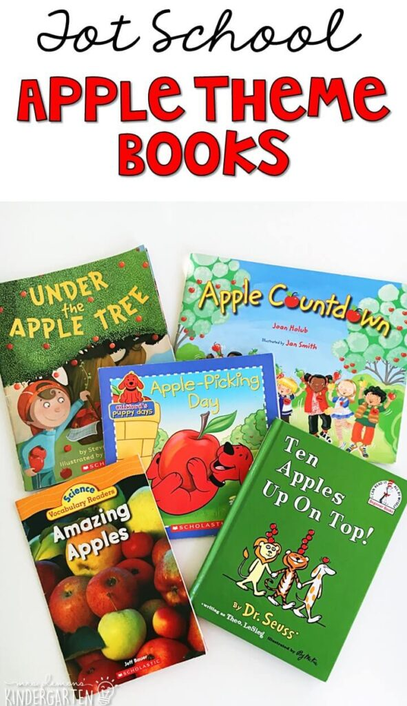5 great books to read aloud for an apple theme. Perfect for tot school, preschool, or even kindergarten.
