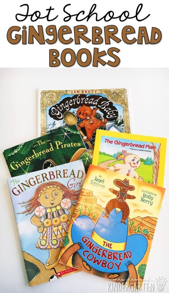 5 great books to read aloud for a gingerbread theme. Perfect for tot school, preschool, or even kindergarten.