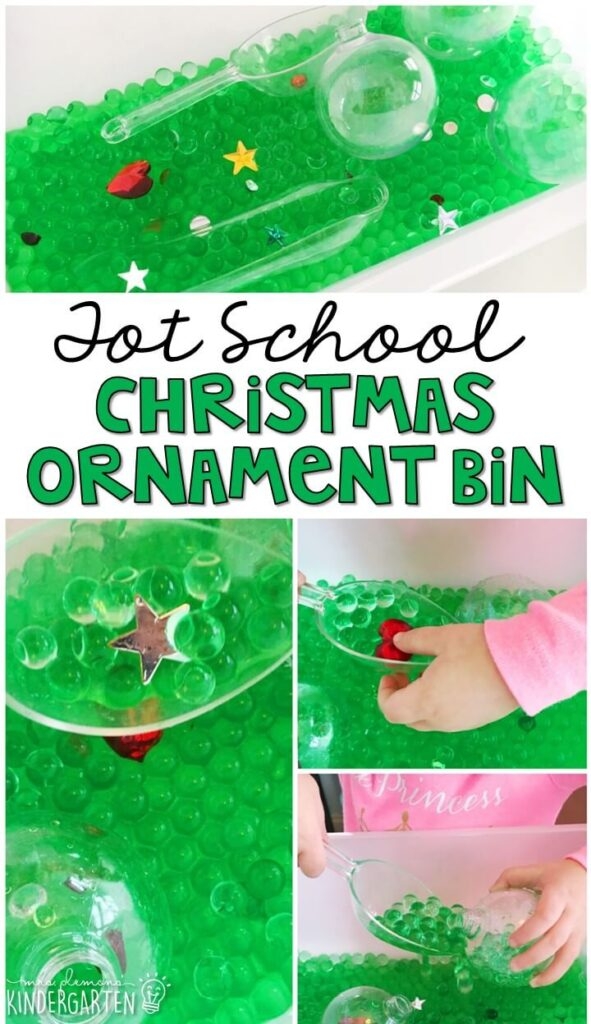 We LOVE this ornament water bead sensory bin. Great for Christmas time in tot school, preschool, or even kindergarten!