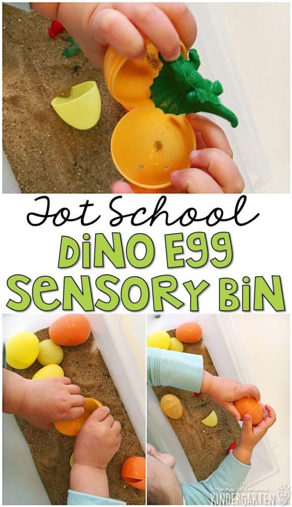 We LOVE this dinosaur egg sensory bin. Great for tot school, preschool, or even kindergarten!