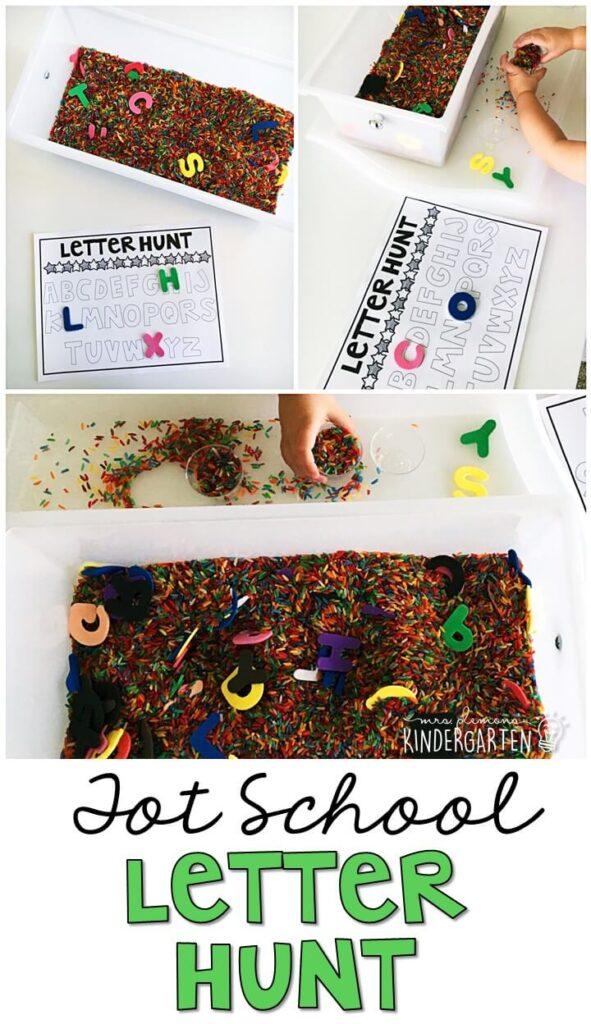 We LOVE this Chicka Chicka Boom Boom sensory bin. Great for tot school, preschool, or even kindergarten!