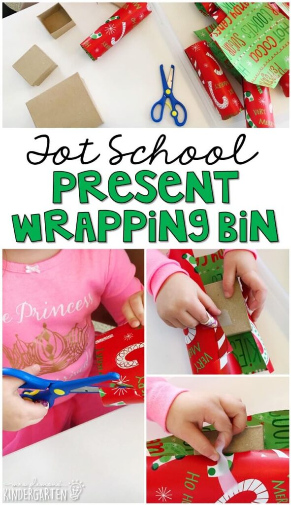 We LOVE this present wrapping sensory bin. Great for Christmas time in tot school, preschool, or even kindergarten!