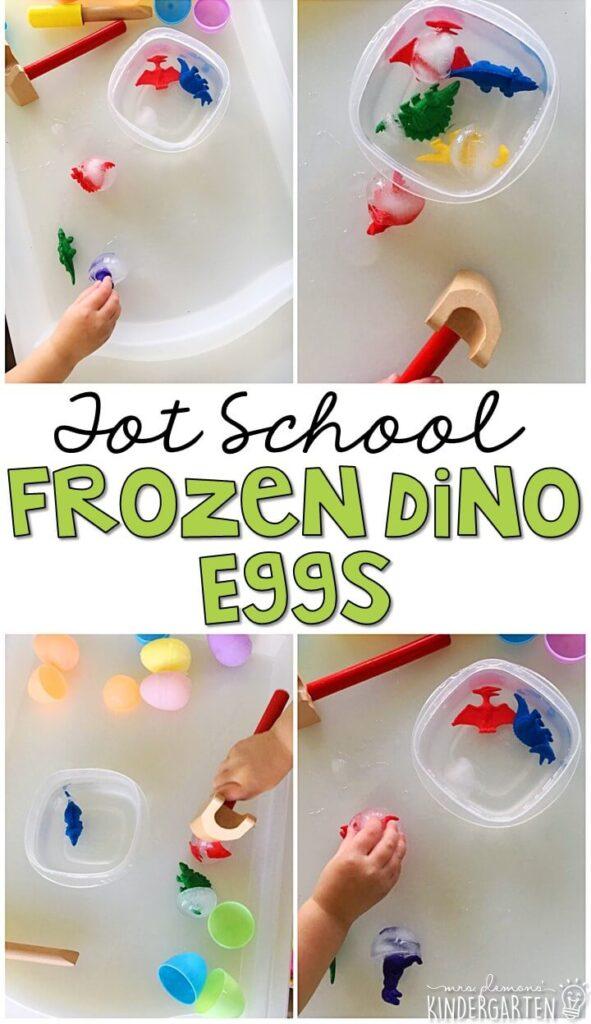 We had so much fun cracking open these frozen Dino eggs. Great for tot school, preschool, or even kindergarten!