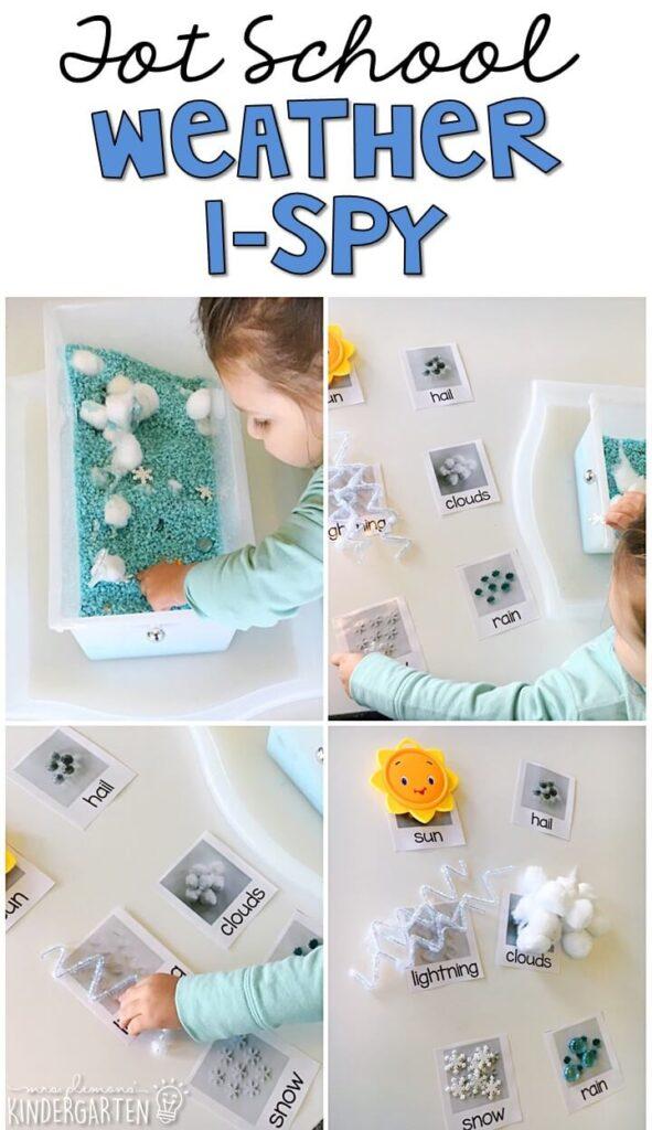 We LOVE this weather I-spy sensory bin. Great for building vocabulary in tot school, preschool, or even kindergarten!
