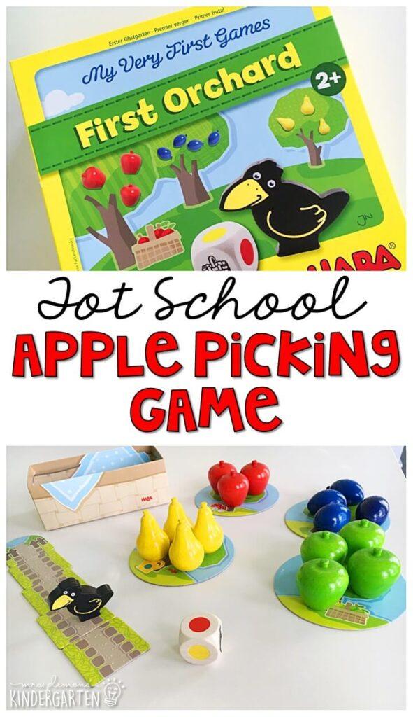 This apple picking game is great for tot school, preschool, or even kindergarten!